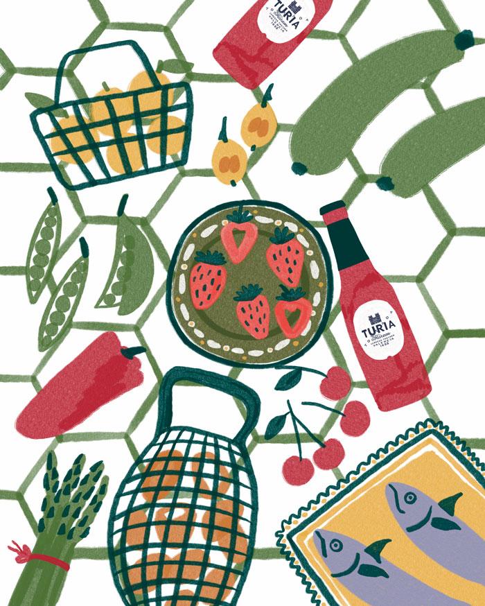 Ilustración sobre alimentos de temporada de primavera - Llibret Turia - Sabina Alcaraz